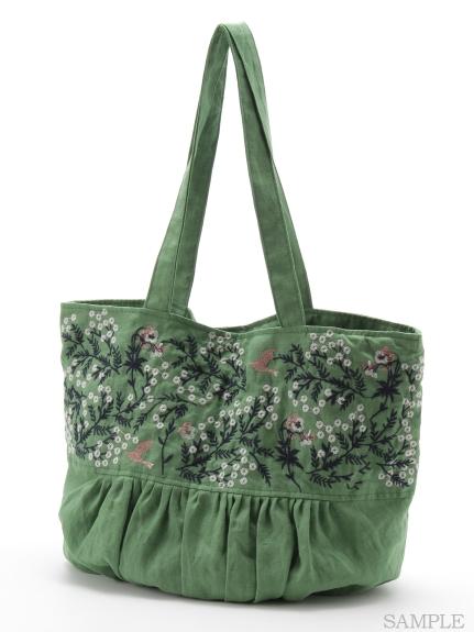 野花とパンジー刺繍BAG
